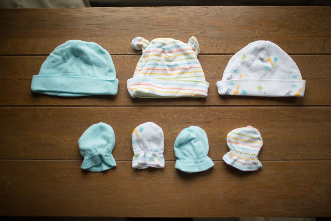 Gerber Newborn Baby Boy or Girl Assorted Caps, 3-Pack, Assorted Mittens, 4-Pack