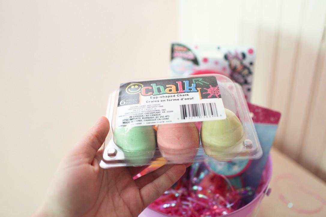 chalk, egg, easter basket goodies, diy, dollar tree
