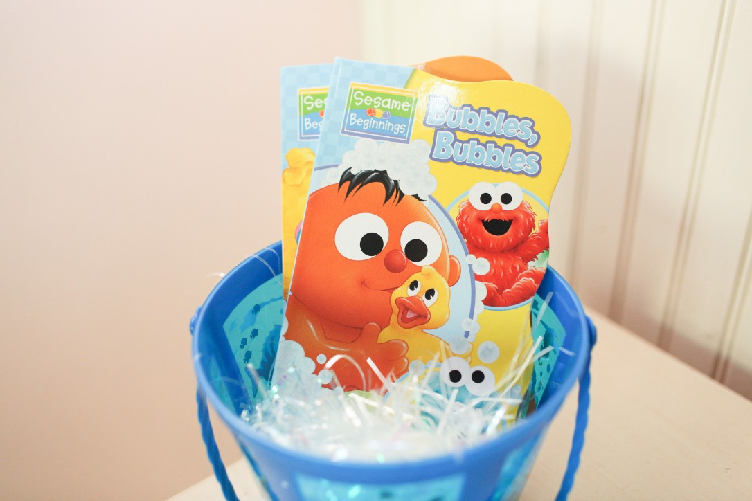 dollar tree, diy, easter basket, fishes, sea critter, newborn, board books, sesame street, sesame beginnings, bath time