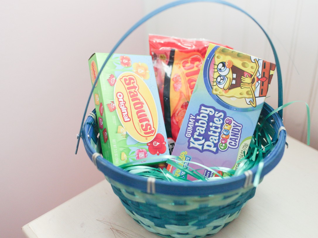 starbust, gummy krabby patties candy, dollar tree, easter basket, diy