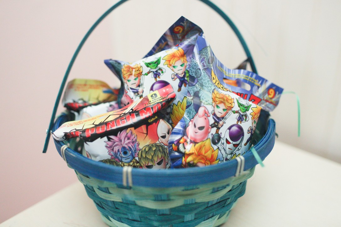 dragon ball z, one punch man, bling bags, dollar tree, diy, easter, easter basket, easter basket goodies