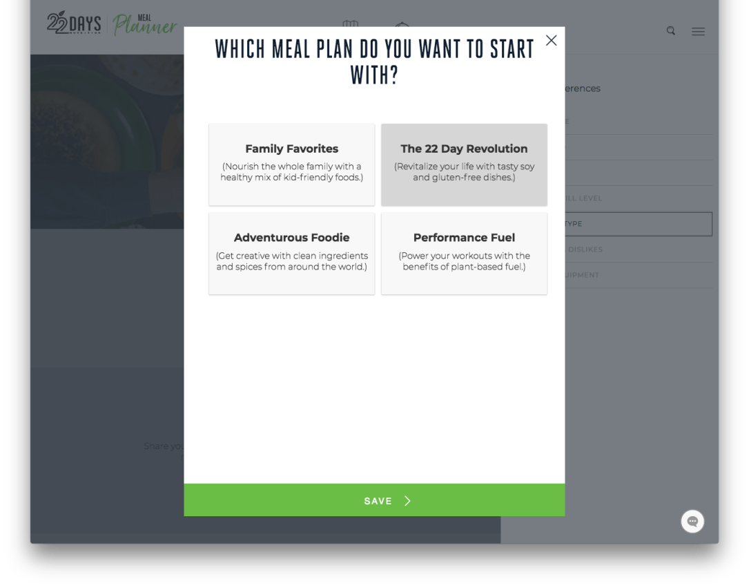22 Days Revolution Meal Planner